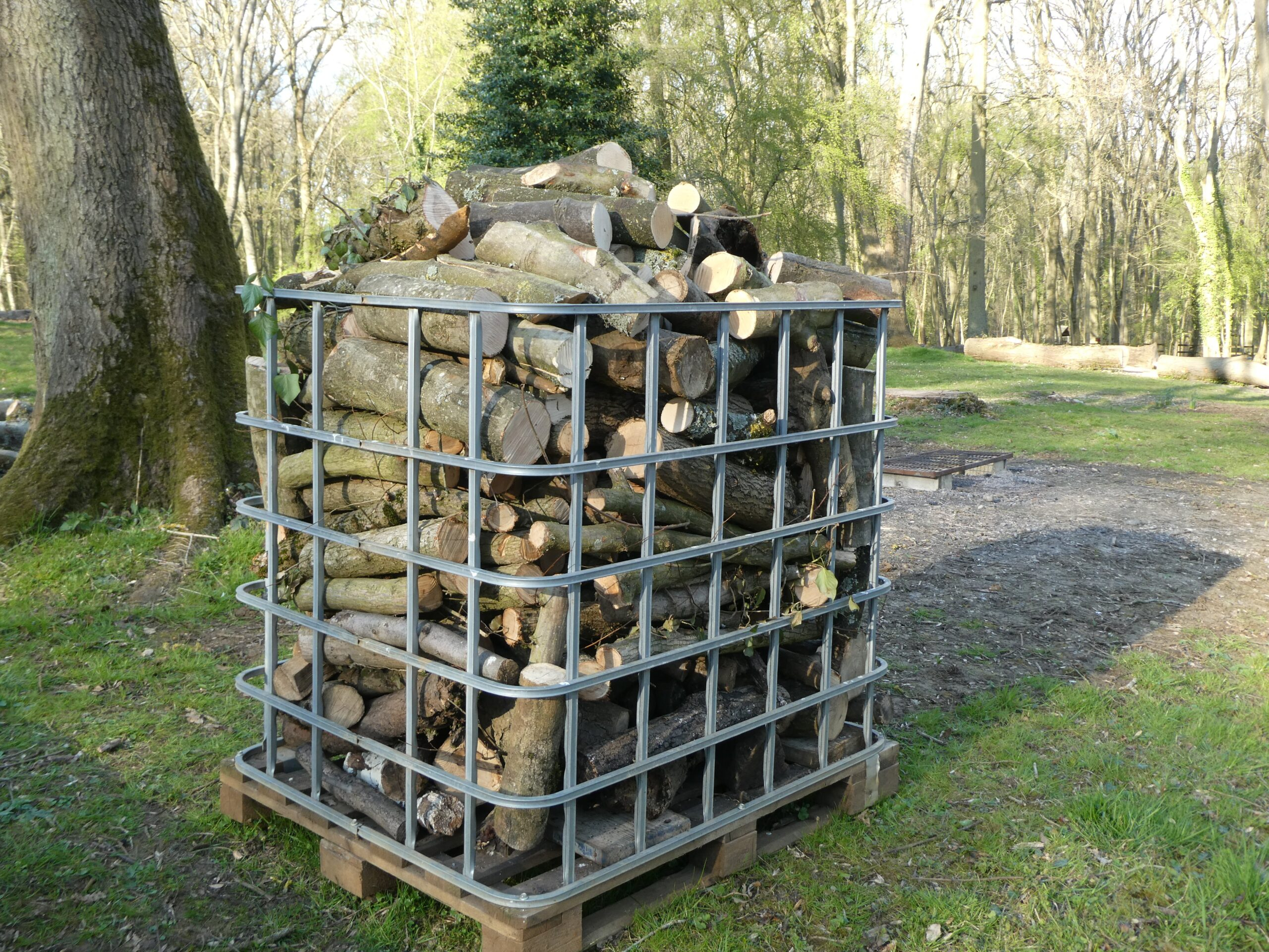 Cage filled with fire wood
